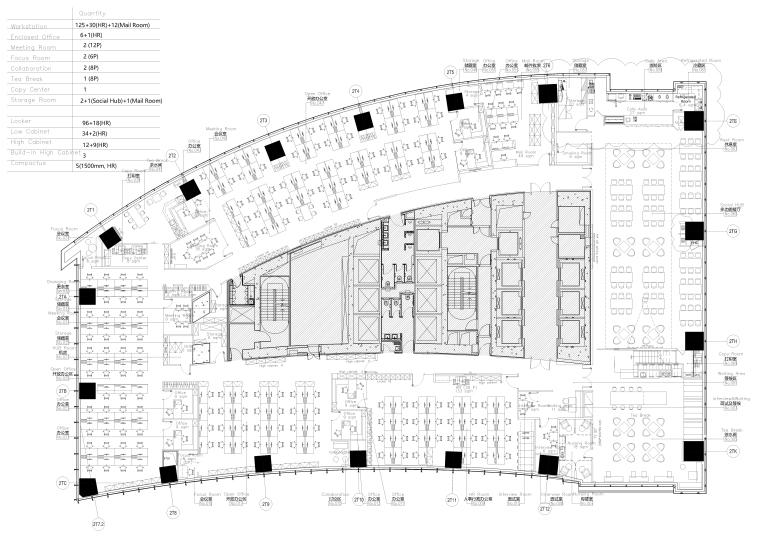 [上海]恒隆广场毕马威办公楼施工图+效果图