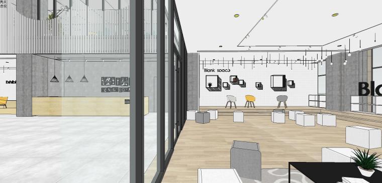 现代简约办公室室内su模型设计