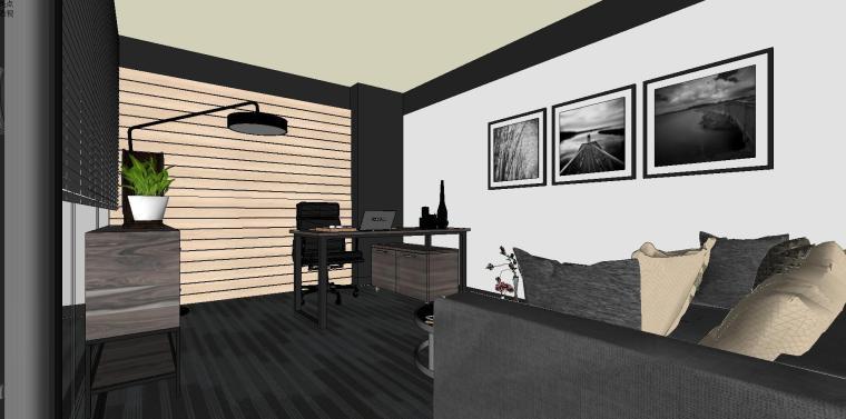 LOFT现代风办公空间室内su模型设计