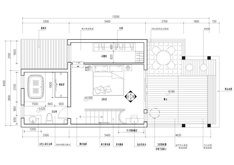 现代风格别墅住宅室内装饰设计施工图-三层平面图