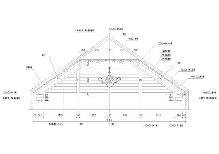 现代风格别墅住宅室内装饰设计施工图-三层主卧吊顶剖面图