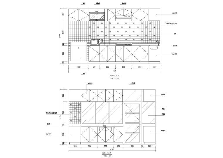 现代风格别墅住宅室内装饰设计施工图-一层厨房柜子立面图