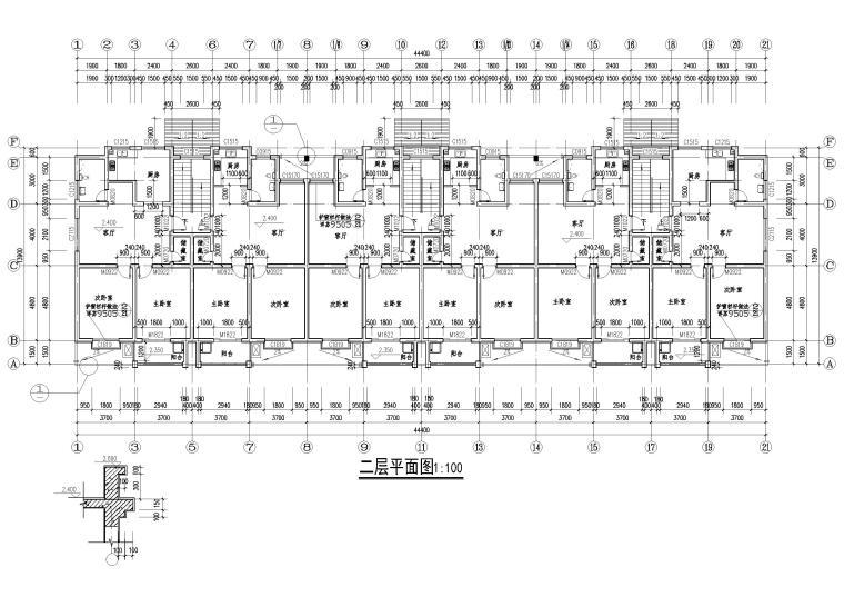 某七层单元式多层住宅建筑施工图纸-二层平面图