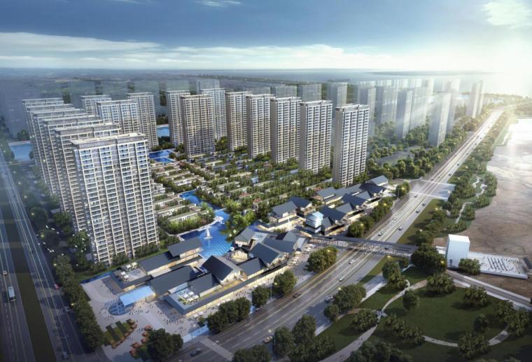 [江苏]现代滨水商业+住宅建筑方案设计-01 鸟瞰图