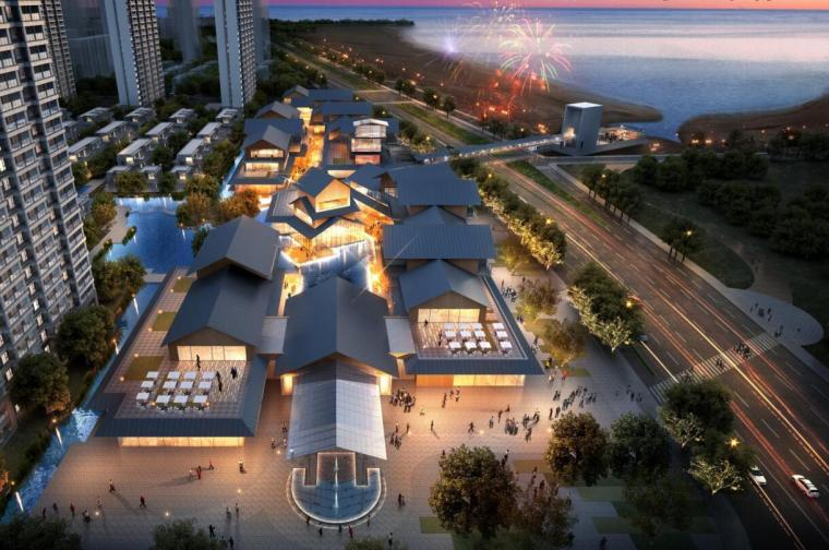 [江苏]现代滨水商业+住宅建筑方案设计-海边的花样泾效果图与一