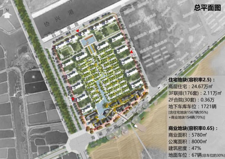 [江苏]现代滨水商业+住宅建筑方案设计-总平面图