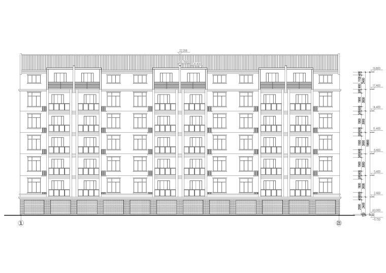 某七层单元式多层住宅建筑施工图纸-建筑立面图2