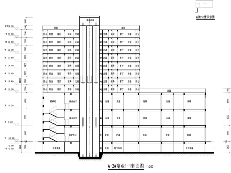 三榆国际商贸综合城修建性规划设计文本-剖面图