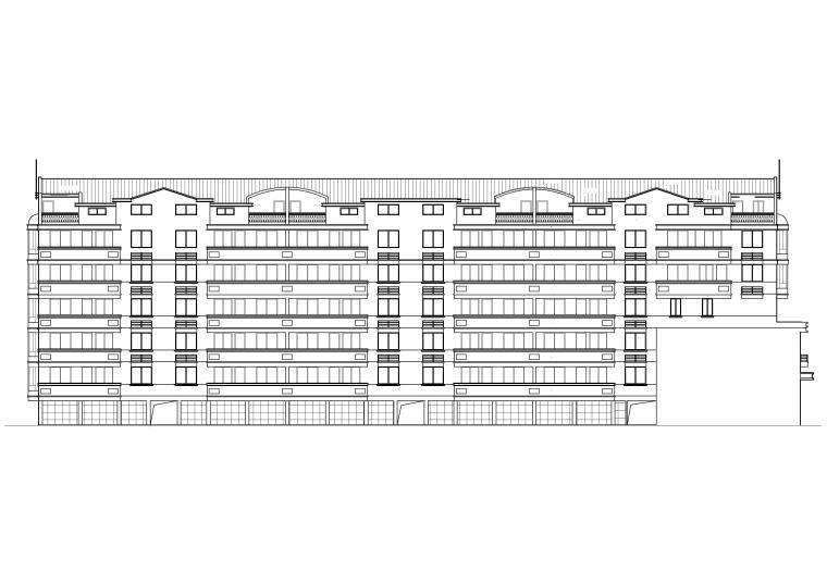 [广州]新象花园_A1幢七层住宅楼建筑方案图-建筑立面图