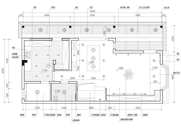 现代风格别墅住宅室内装饰设计施工图-一层天花布置图