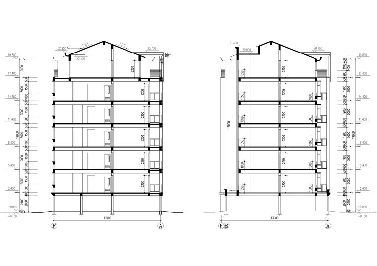 某七层单元式多层住宅建筑施工图纸-建筑剖面图