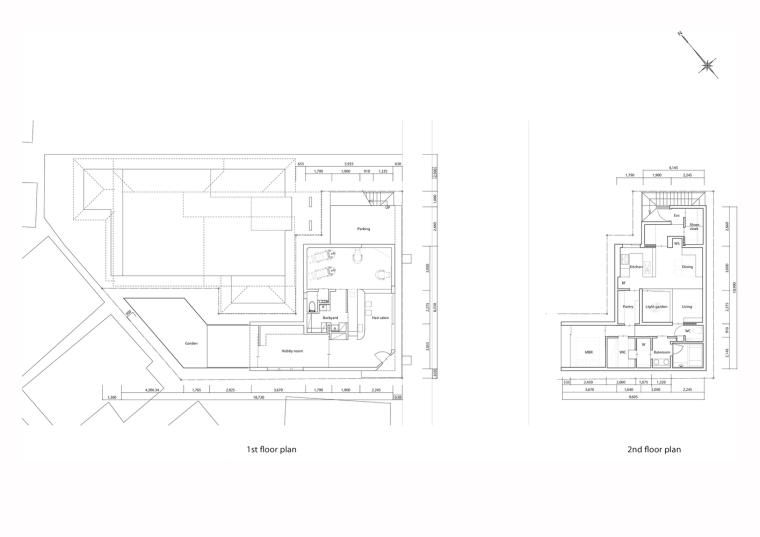 日本混合用途商业建筑-Ground_and_first_floor_plans