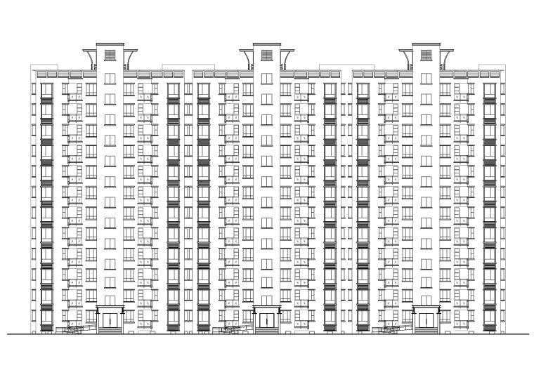 某板式十二层小高层住宅楼建筑施工图