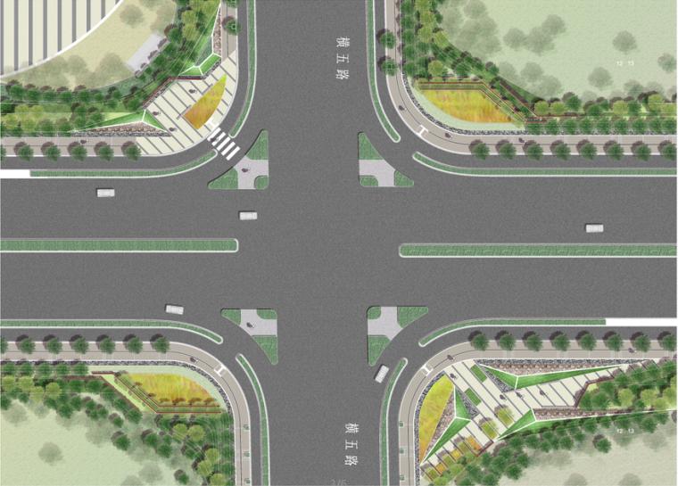 道路入口、十字路口、标准段PSD彩色总平面