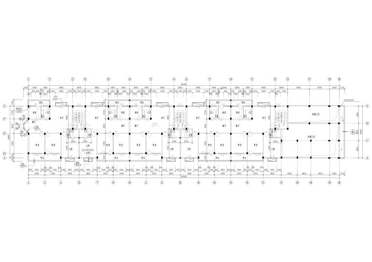[广州]新象花园_A1幢七层住宅楼建筑方案图-一层平面图