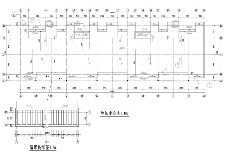 某七层单元式多层住宅建筑施工图纸-顶层平面图