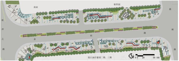 道路标准段、街区绿地PSD彩色总平面图