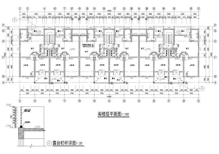 某七层单元式多层住宅建筑施工图纸-阁楼层平面图