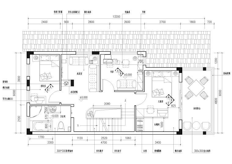 现代风格别墅住宅室内装饰设计施工图-二层平面图