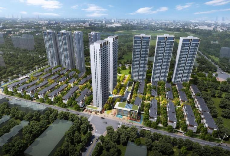 [四川]现代风格高层+别墅建筑方案设计-01 鸟瞰图