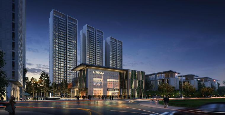 [四川]现代风格高层+别墅建筑方案设计-东南向透视