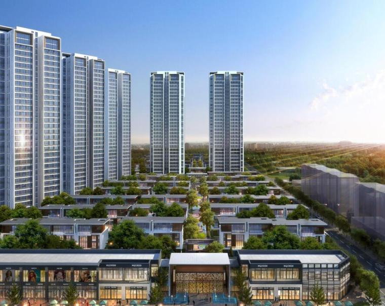 [四川]现代风格高层+别墅建筑方案设计-鸟瞰图