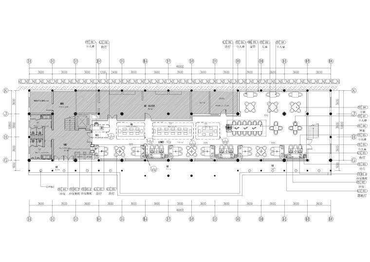 9#楼一层 全日制餐厅家具布置平面图
