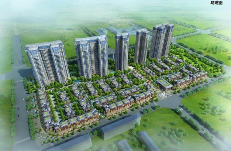 [四川]新亚洲风住宅+城市别墅建筑方案设计-01 鸟瞰图