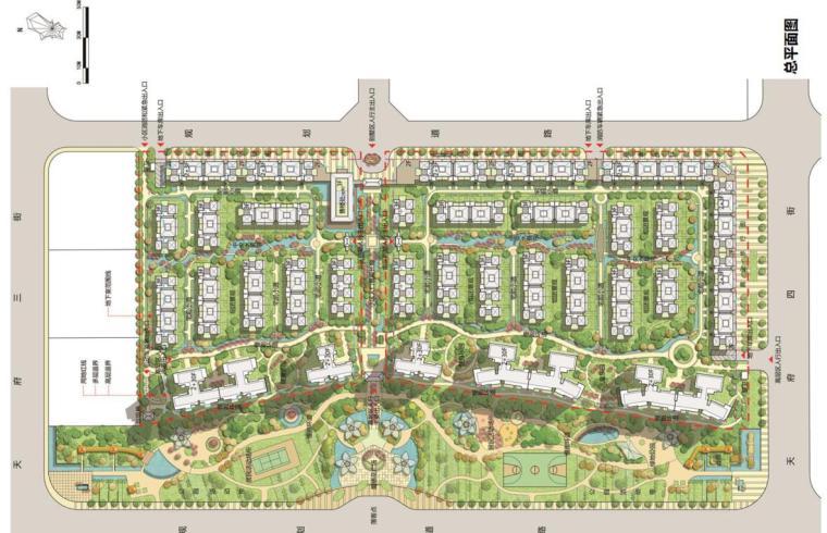 [四川]新亚洲风住宅+城市别墅建筑方案设计-总平面图