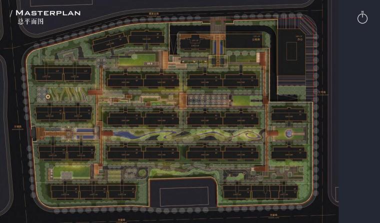 [浙江]杭州地标性居住区景观设计-总平面图