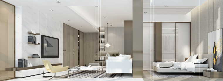 C1效果图(105建面两室两厅一卫)客廳主臥