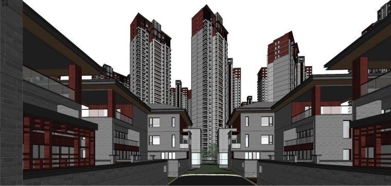 中式风格高层+合院+联排建筑模型设计