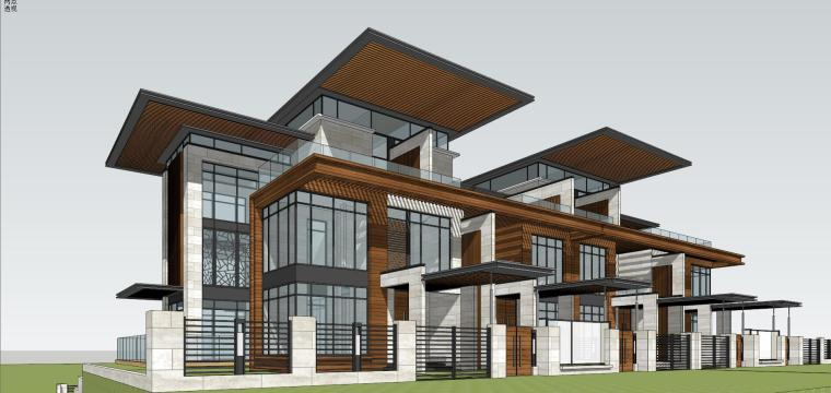 新中式风联排别墅su建筑设计
