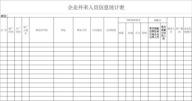 工地复工疫情表格资料下载-工地疫情防控表格合集(16-18)