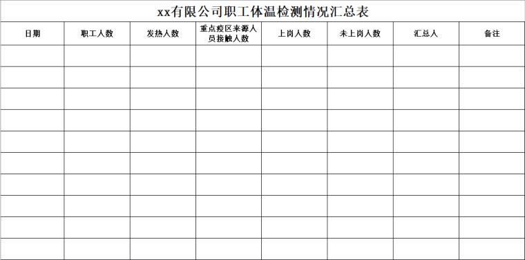 工地复工疫情表格资料下载-工地疫情防控表格合集(7-9)