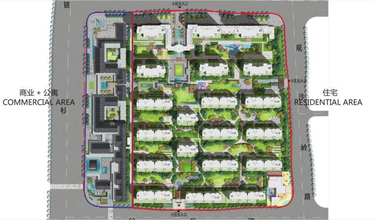 [湖南]新古典风格滨江正荣府住宅景观方案-总平面图
