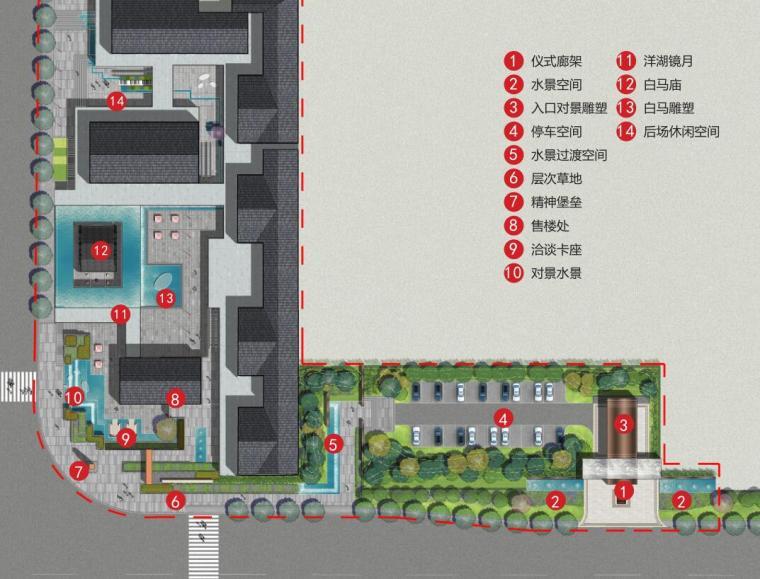 [湖南]新古典风格滨江正荣府住宅景观方案-示范区设计—总平面图