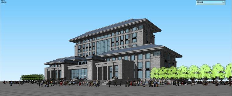现代风格种子中心办公楼建筑模型设计