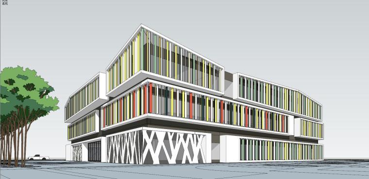 现代风格幼儿园建筑su模型设计