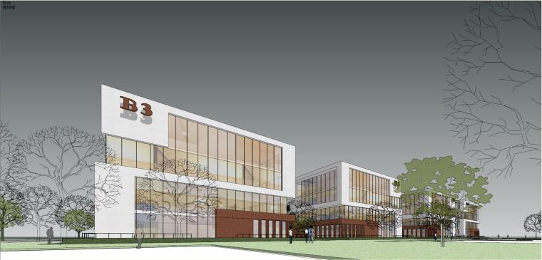 办公-现代风格创意办公楼建筑模型设计
