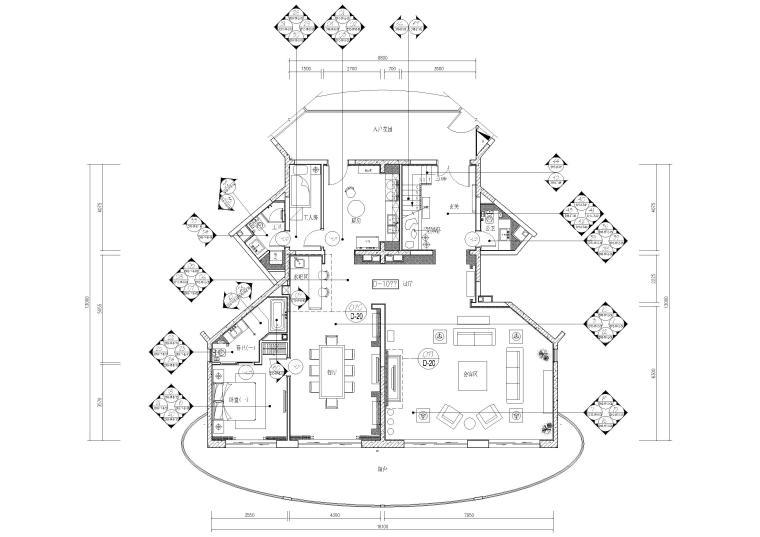 [海南]度假中心新中式复式样板间装饰施工图