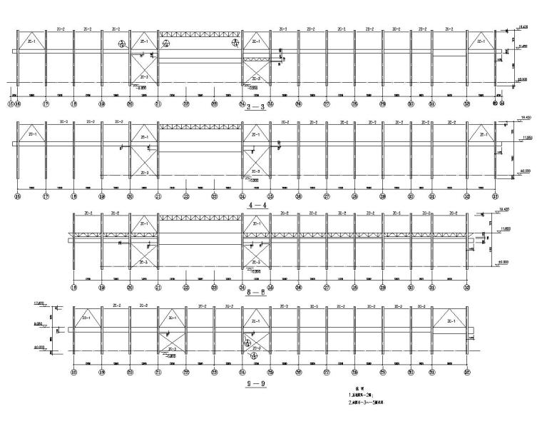 某单层带吊车轻钢厂房结构施工图(CAD)