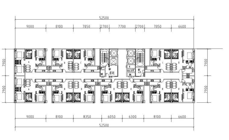 标准层公寓户型平面方案设计