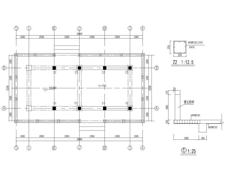 某水榭混凝土主体木屋顶结构施工图(CAD)