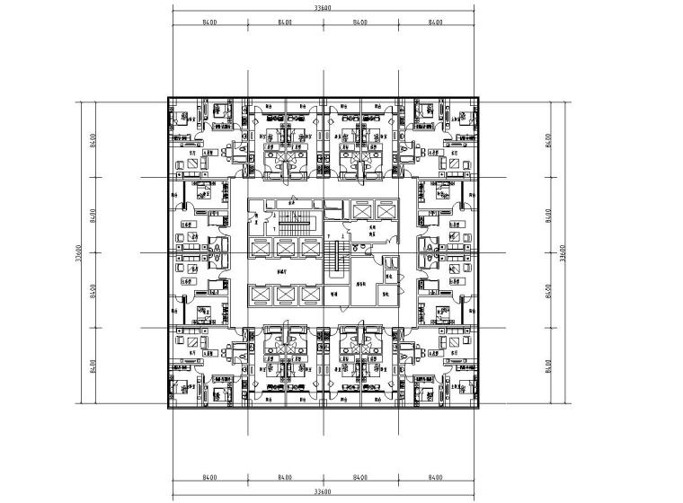 二房二厅公寓户型平面图 (2)