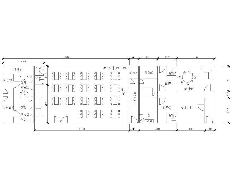 12米单跨钢结构餐厅结构施工图(CAD)