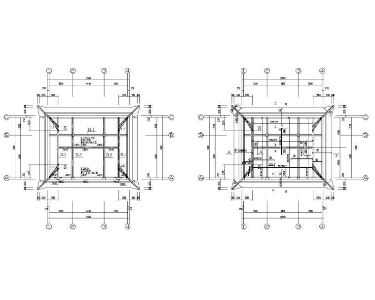 某单层古庙框架结构设计施工图(CAD)