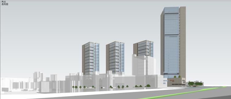 龙湖简约朴素感的办公+商业建筑模型设计