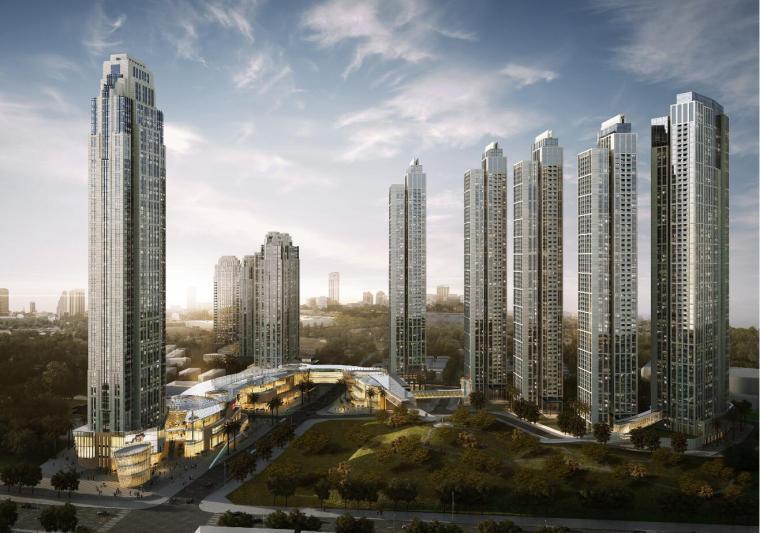 现代典雅风格超高层办公整体建筑模型