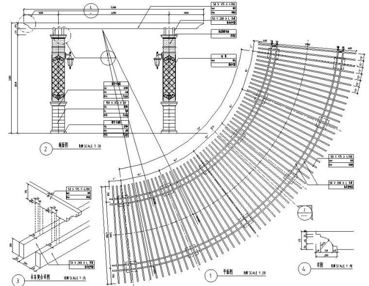 景观设计深度图示-弧形廊架详图设计